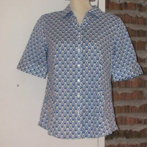 Talbots Blue White Top Blouse Size 10 NWOT Buttons